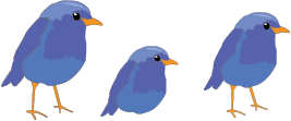 three cartoon blue birds perched on the heading