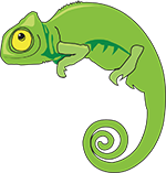 a green chameleon drawing